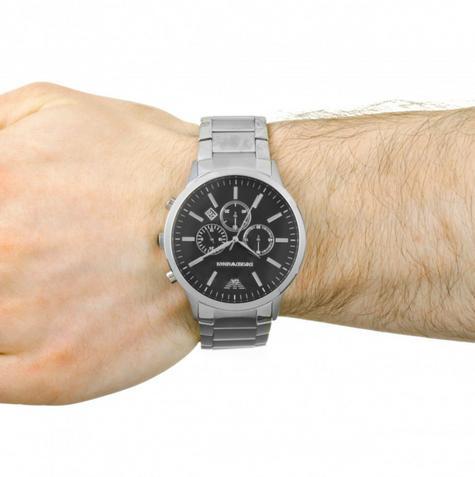 Emporio Armani Gianni Gent's Watch | Chronograph Black Dial | Stainless Strap?AR0389 Thumbnail 2