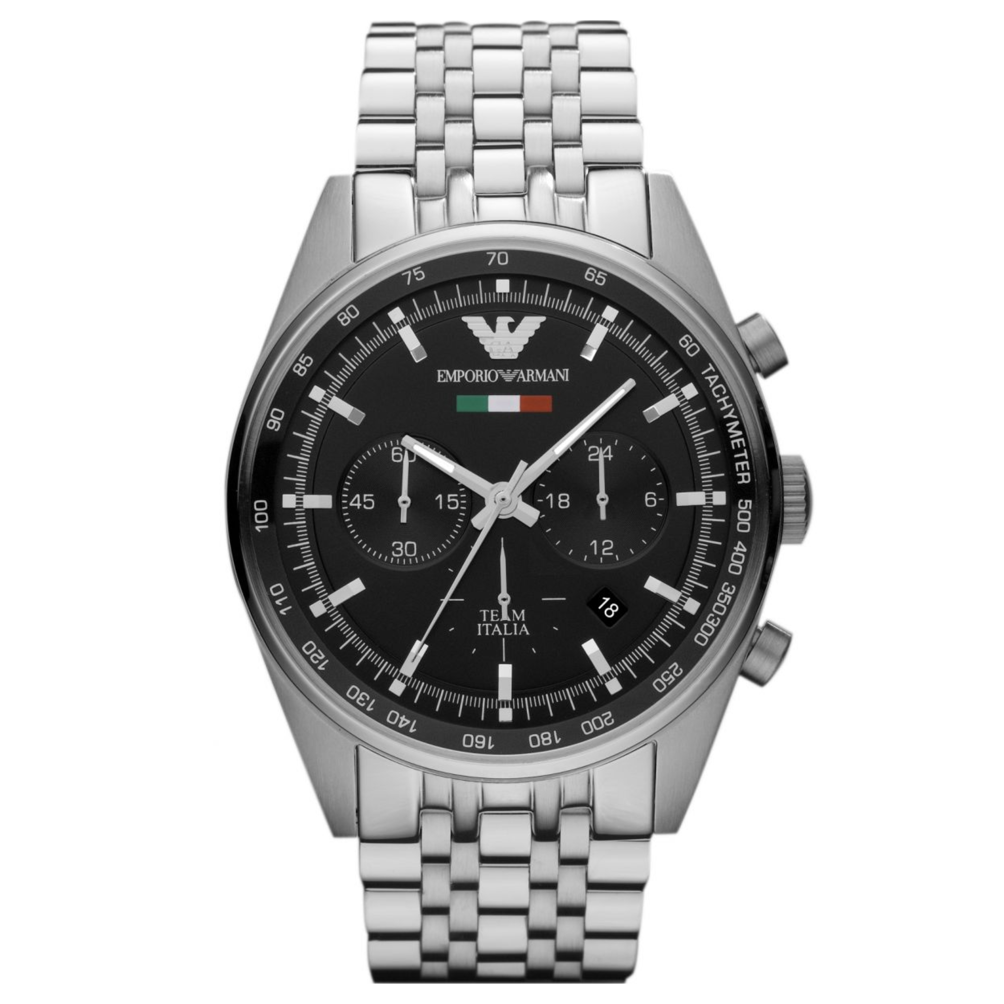 Emporio Armani Men's Sportivo Watch AR5983?Chronograph Black Dial?Stainless Band