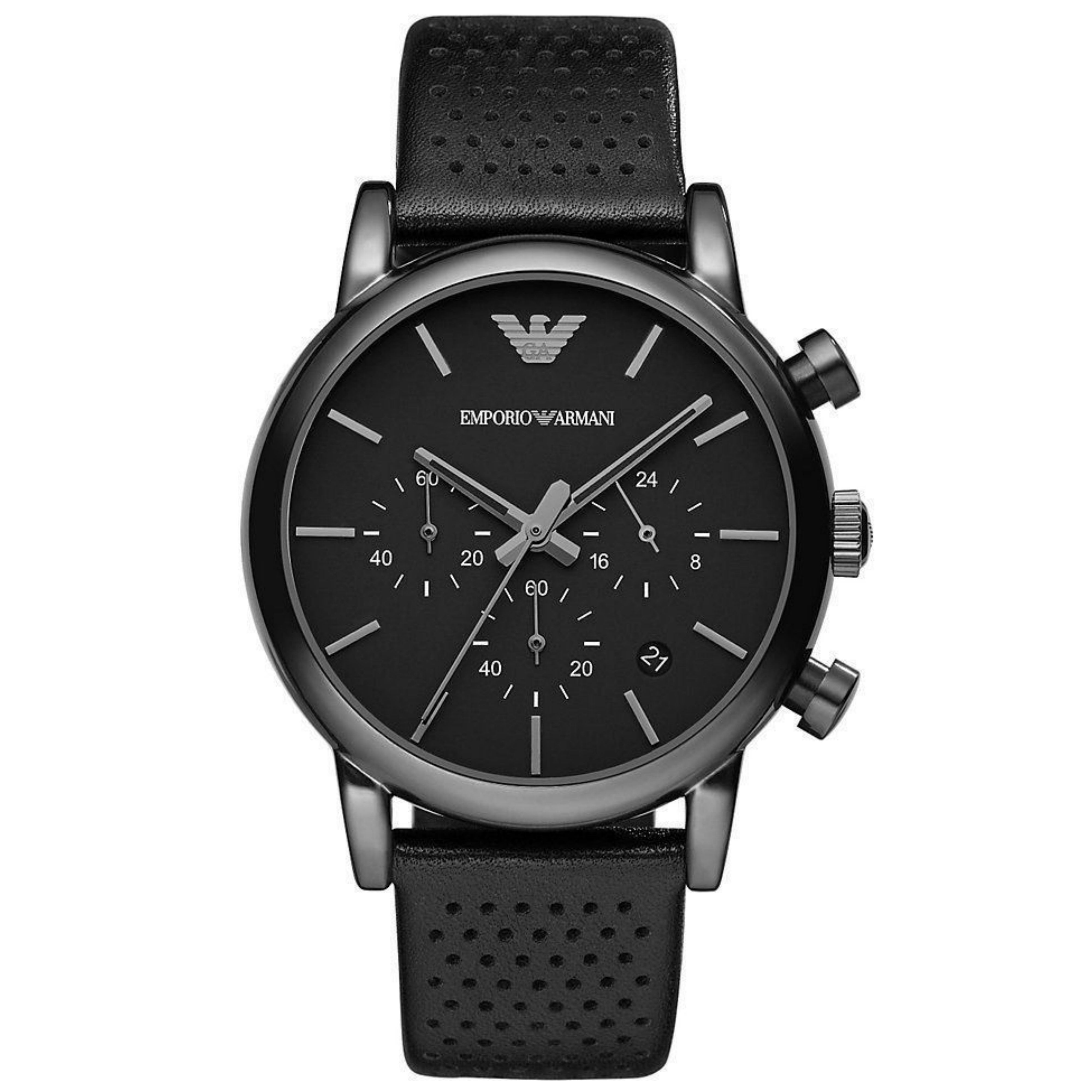 Emporio Armani Men's Classic Black Plated Leather Strap Chronograph Watch AR1737