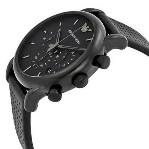 Emporio Armani Men's Classic Black Plated Leather Strap Chronograph Watch AR1737 Thumbnail 2
