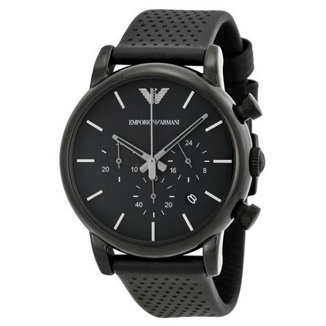 Emporio Armani Men's Classic Black Plated Leather Strap Chronograph Watch AR1737 Thumbnail 3