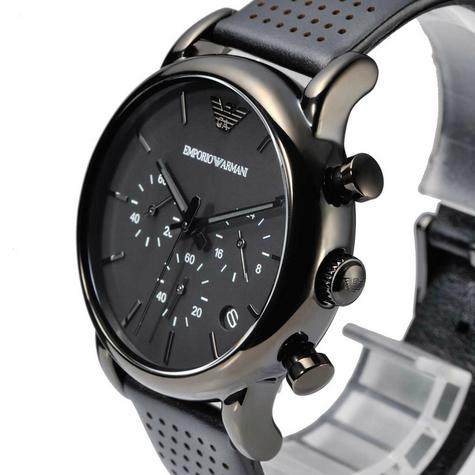 Emporio Armani Men's Classic Black Plated Leather Strap Chronograph Watch AR1737 Thumbnail 5