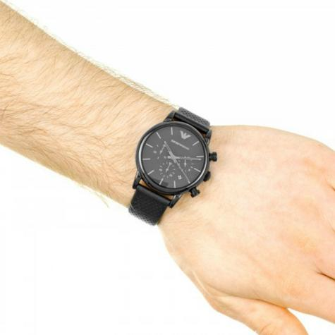Emporio Armani Men's Classic Black Plated Leather Strap Chronograph Watch AR1737 Thumbnail 6