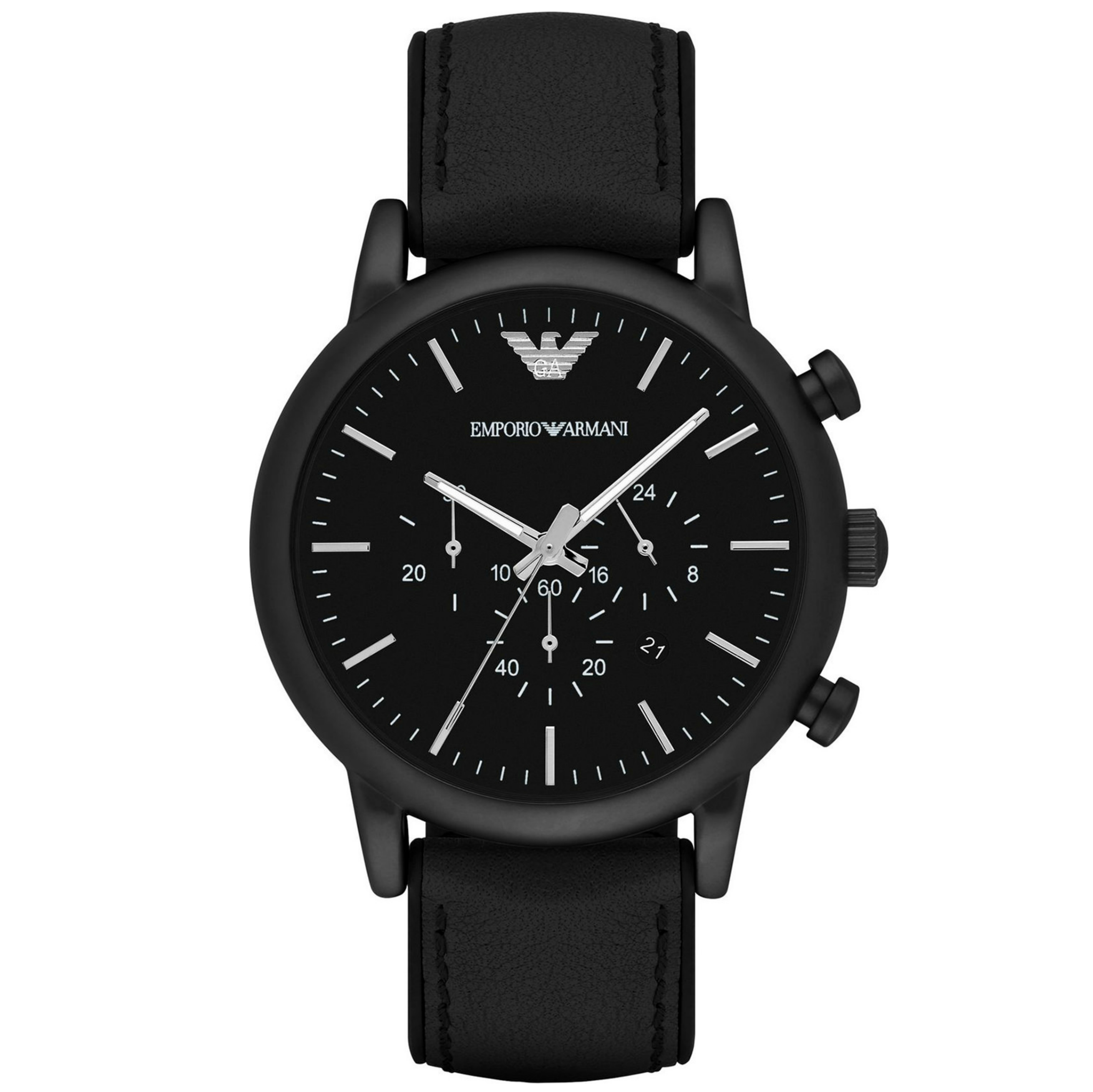 Emporio Armani Luigi Men's Watch|Chronograph Black Dial|Leather Strap Band|1970