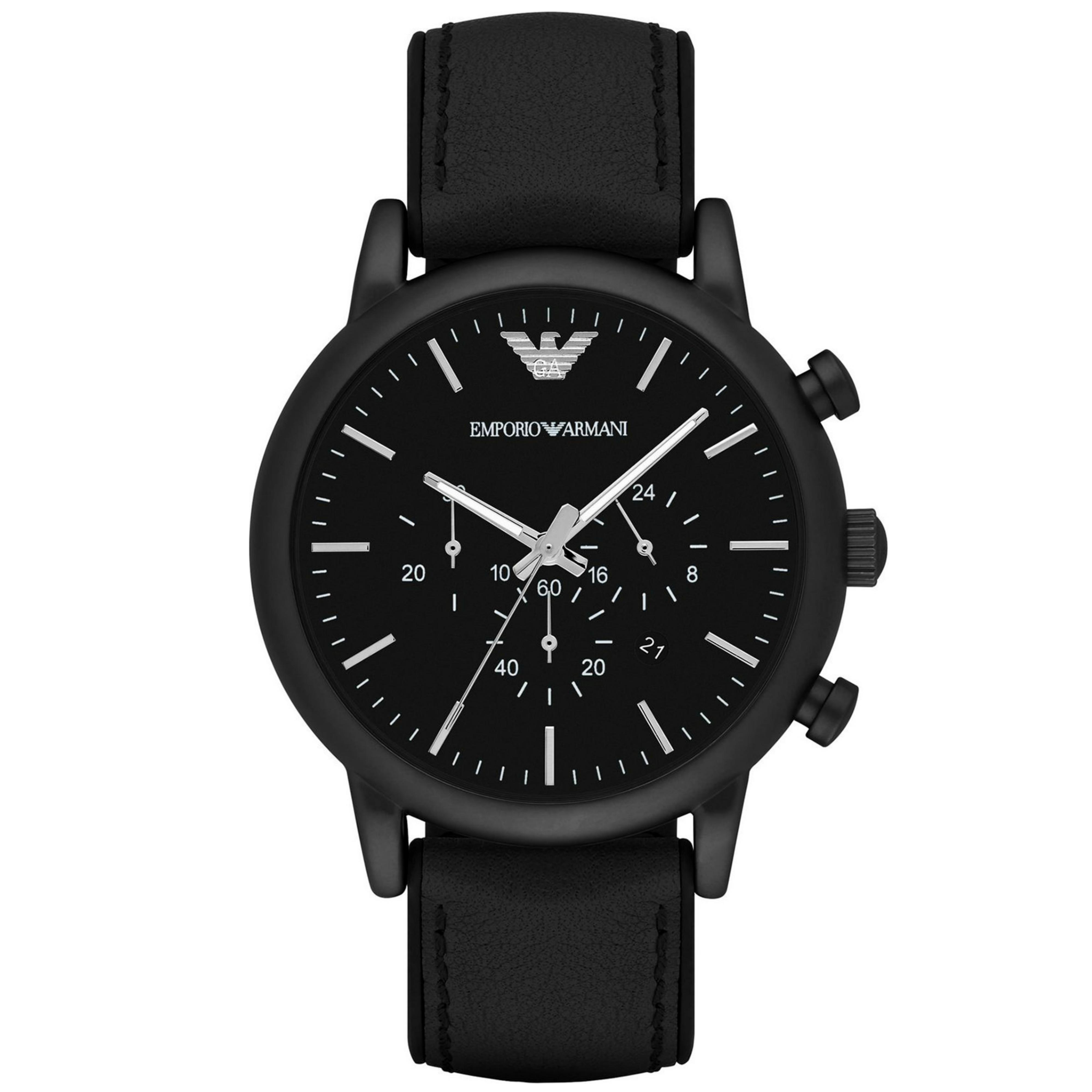 Emporio Armani Luigi Chronograph Black Dial Strap Men's Formal Watch - AR1970