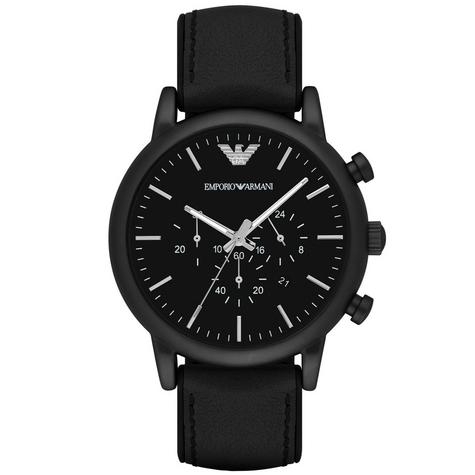 Emporio Armani Luigi Men's Watch|Chronograph Black Dial|Leather Strap Band|1970 Thumbnail 1