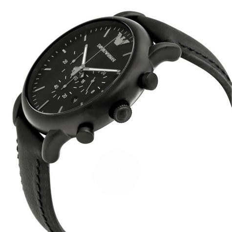 Emporio Armani Luigi Men's Watch|Chronograph Black Dial|Leather Strap Band|1970 Thumbnail 2