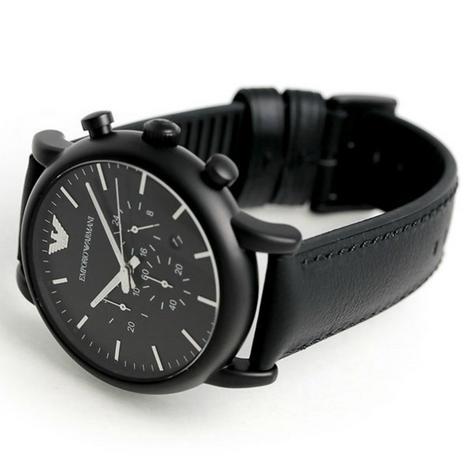 Emporio Armani Luigi Chronograph Black Dial Strap Men's Formal Watch - AR1970 Thumbnail 4