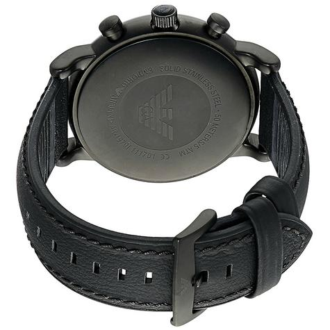 Emporio Armani Luigi Men's Watch|Chronograph Black Dial|Leather Strap Band|1970 Thumbnail 3
