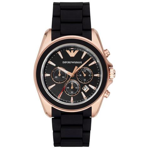 Emporio Armani Sportivo Men's Watch|Chronograph Black Dial|Rubber Strap|AR6066 Thumbnail 1