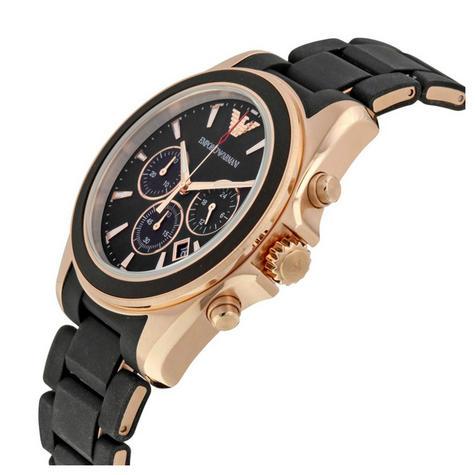 Emporio Armani Sportivo Men's Watch|Chronograph Black Dial|Rubber Strap|AR6066 Thumbnail 2