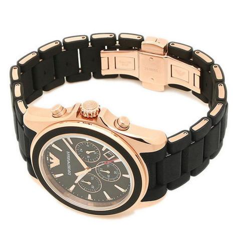 Emporio Armani Sportivo Men's Watch|Chronograph Black Dial|Rubber Strap|AR6066 Thumbnail 4