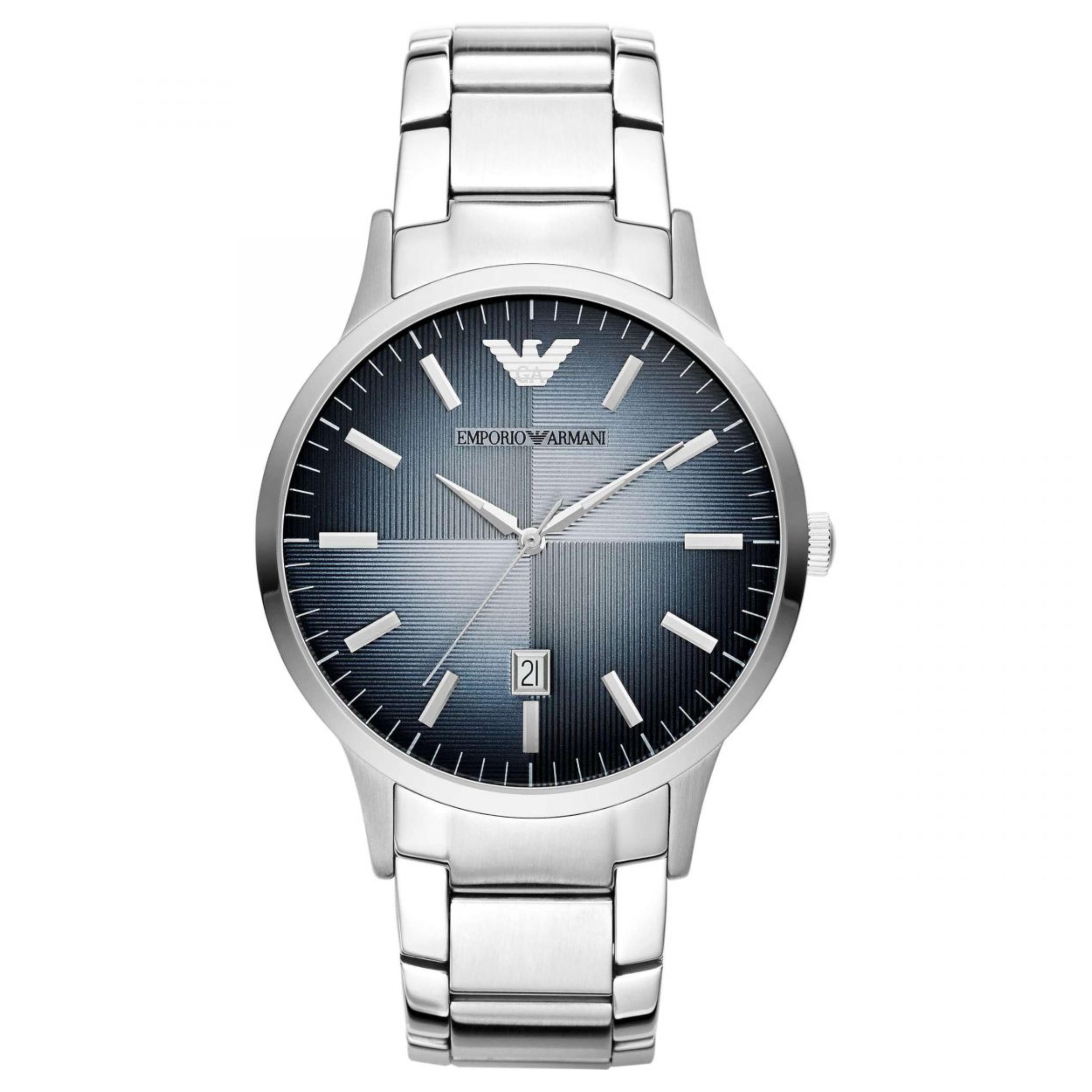 Emporio Armani Classic Men's Watch|Blue Analog Metal Dial|Silver Bracelet|AR247