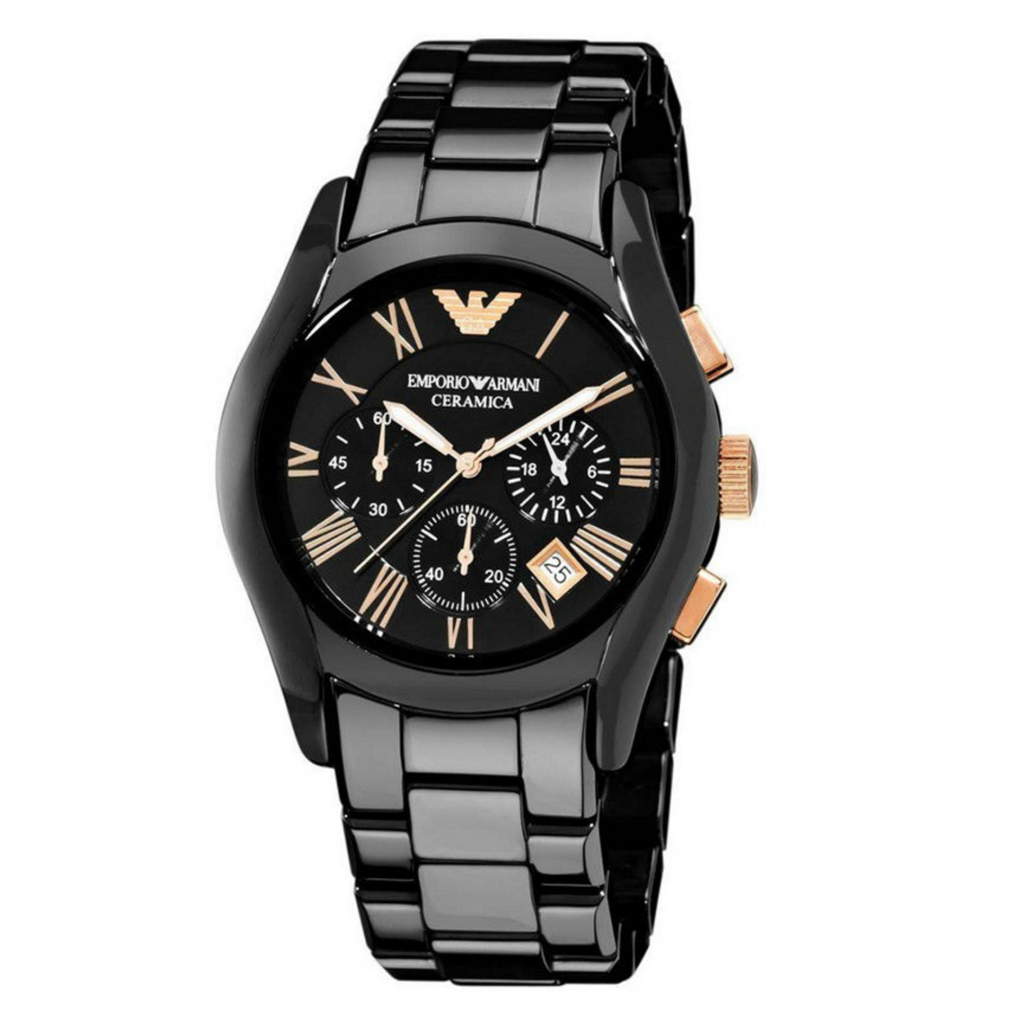 Emporio Armani Men's Watch|Black Chronograph Dial|Ceramic Bracelet Strap|AR1410