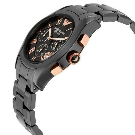 Emporio Armani Men's Watch|Black Chronograph Dial|Ceramic Bracelet Strap|AR1410 Thumbnail 2