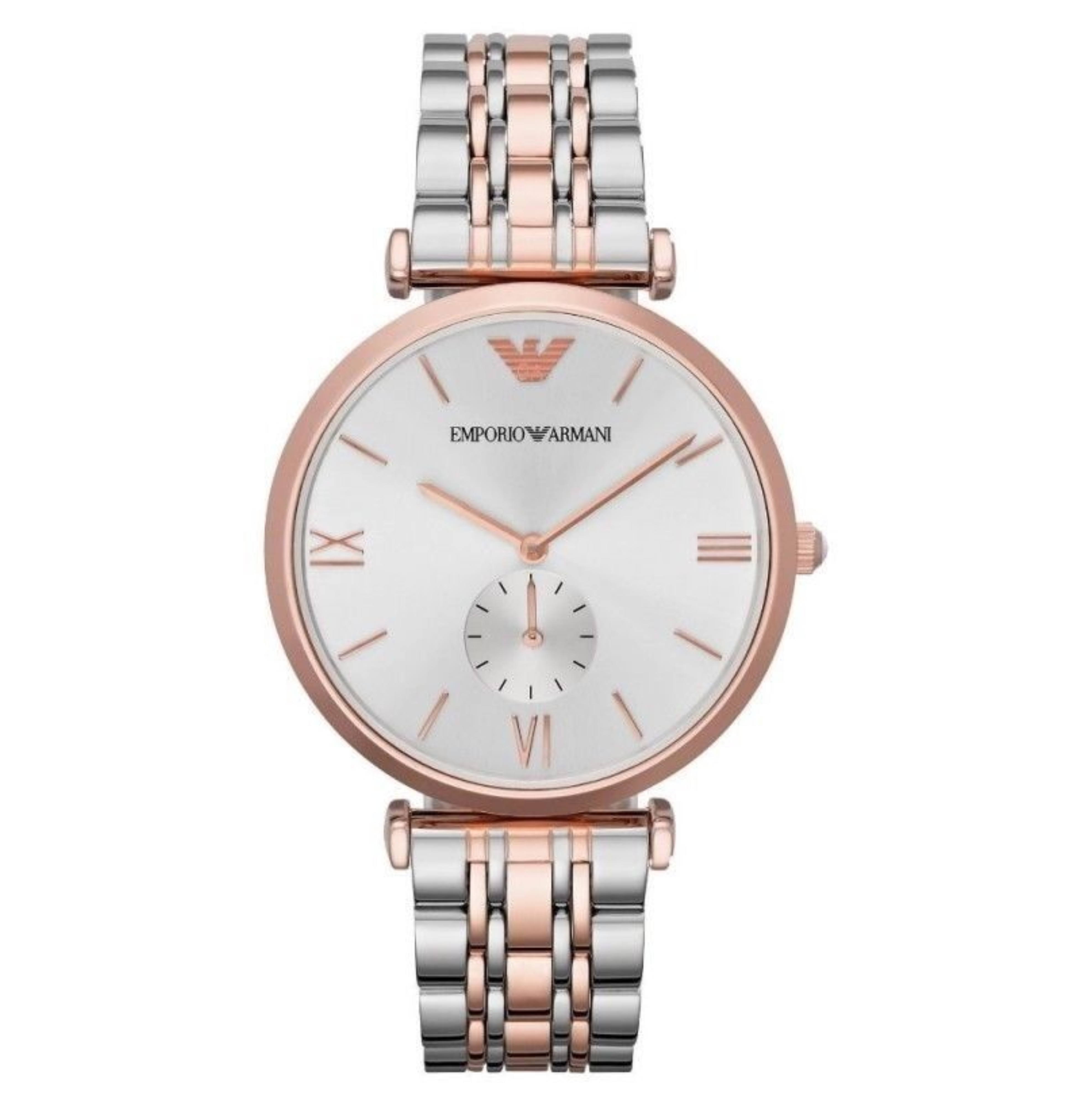 Emporio Armani Men's Watch|Silver Dial|Stainless Steel Rose Gold Bracelet|AR1677