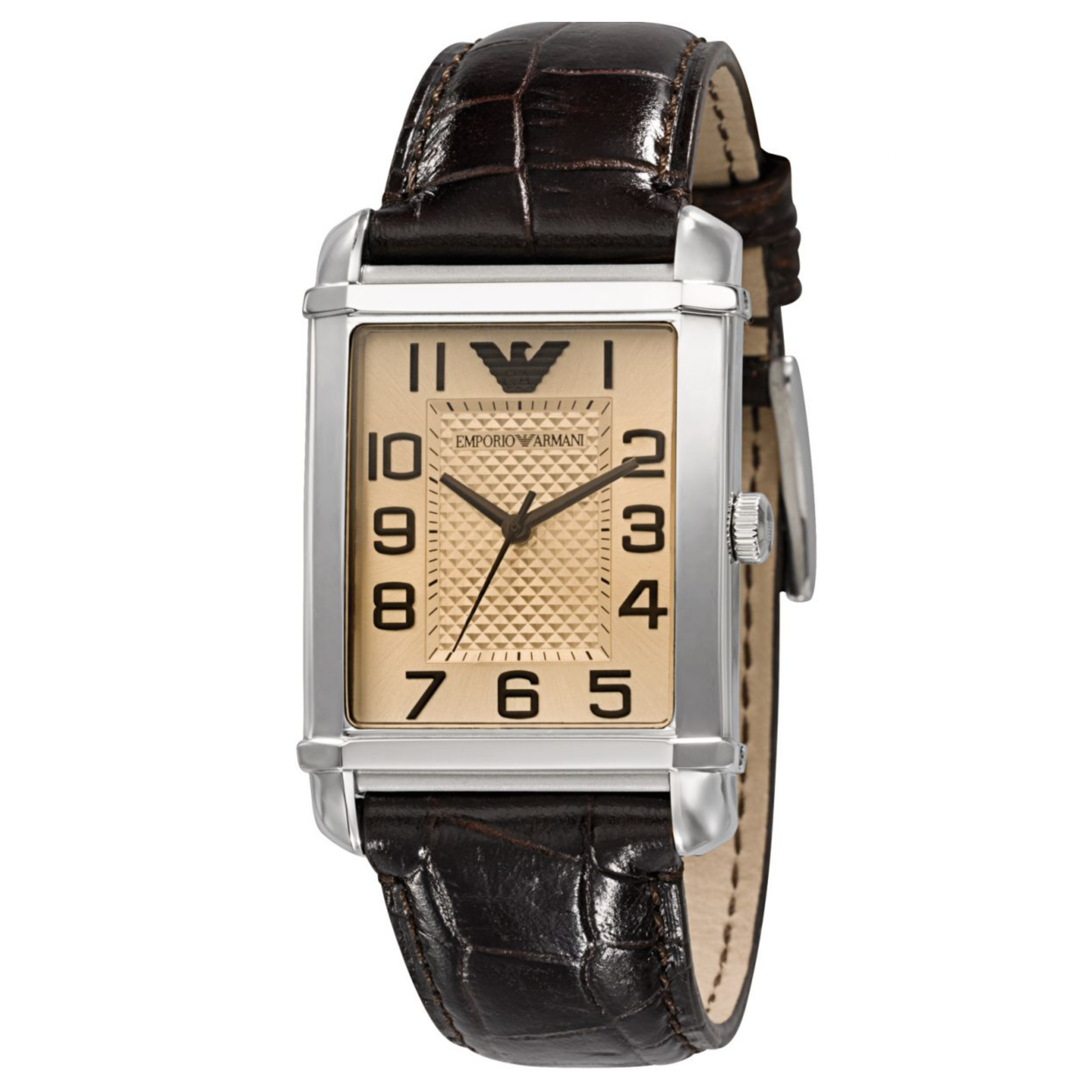 Emporio Armani Women's Analog Watch Rectangle Dial Brown Leather Strap AR0491