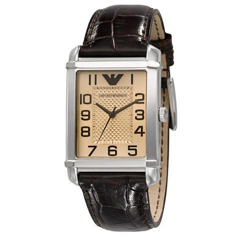 Emporio Armani Women's Analog Watch Rectangle Dial Brown Leather Strap AR0491 Thumbnail 1