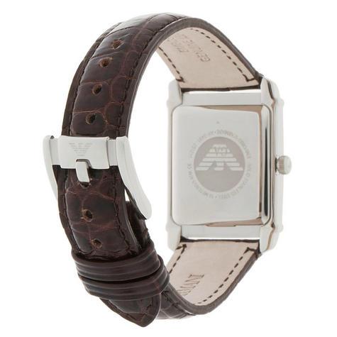 Emporio Armani Women's Analog Watch Rectangle Dial Brown Leather Strap AR0491 Thumbnail 3
