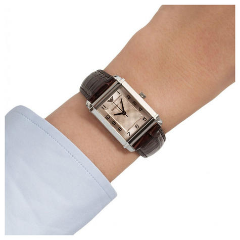 Emporio Armani Women's Analog Watch Rectangle Dial Brown Leather Strap AR0491 Thumbnail 4