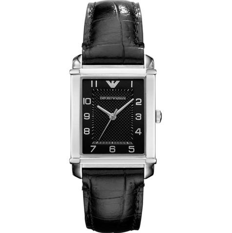 Emporio Armani Women's AR0364 Classic Black Leather Strap Watch AR0364 Thumbnail 1