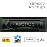 Kenwood KDC-120UG Car Stereo Player|Radio/CD/MP3/USB/Aux|Green Illumination|NEW