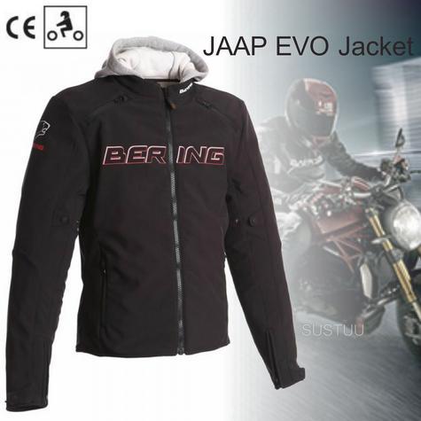 New Bering Jaap Evo Motorcycle/Bike Men Textile Jacket|Waterproof|CE Approved|Black/Red Thumbnail 1