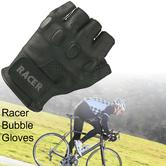 Racer Bubble Quality Craftsmanship Fingerless Leadher Gloves For Male - Black