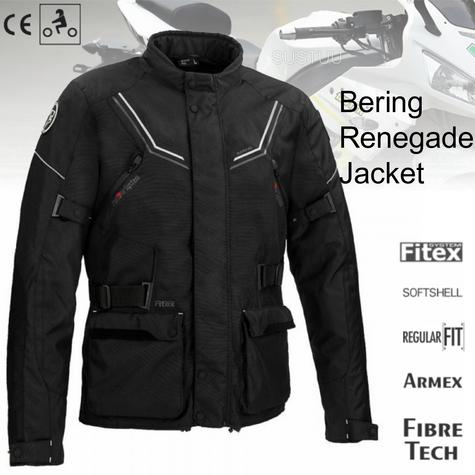 Bering Renegade Motorcycle/Bike Textile Jacket-BLack/Grey|CE Approved|Waterproof Thumbnail 1