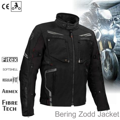 New Bering Zodd Motorcycle/Bike Men Textile Jacket|Waterproof|CE Approved|Dual-Use|Black Thumbnail 1
