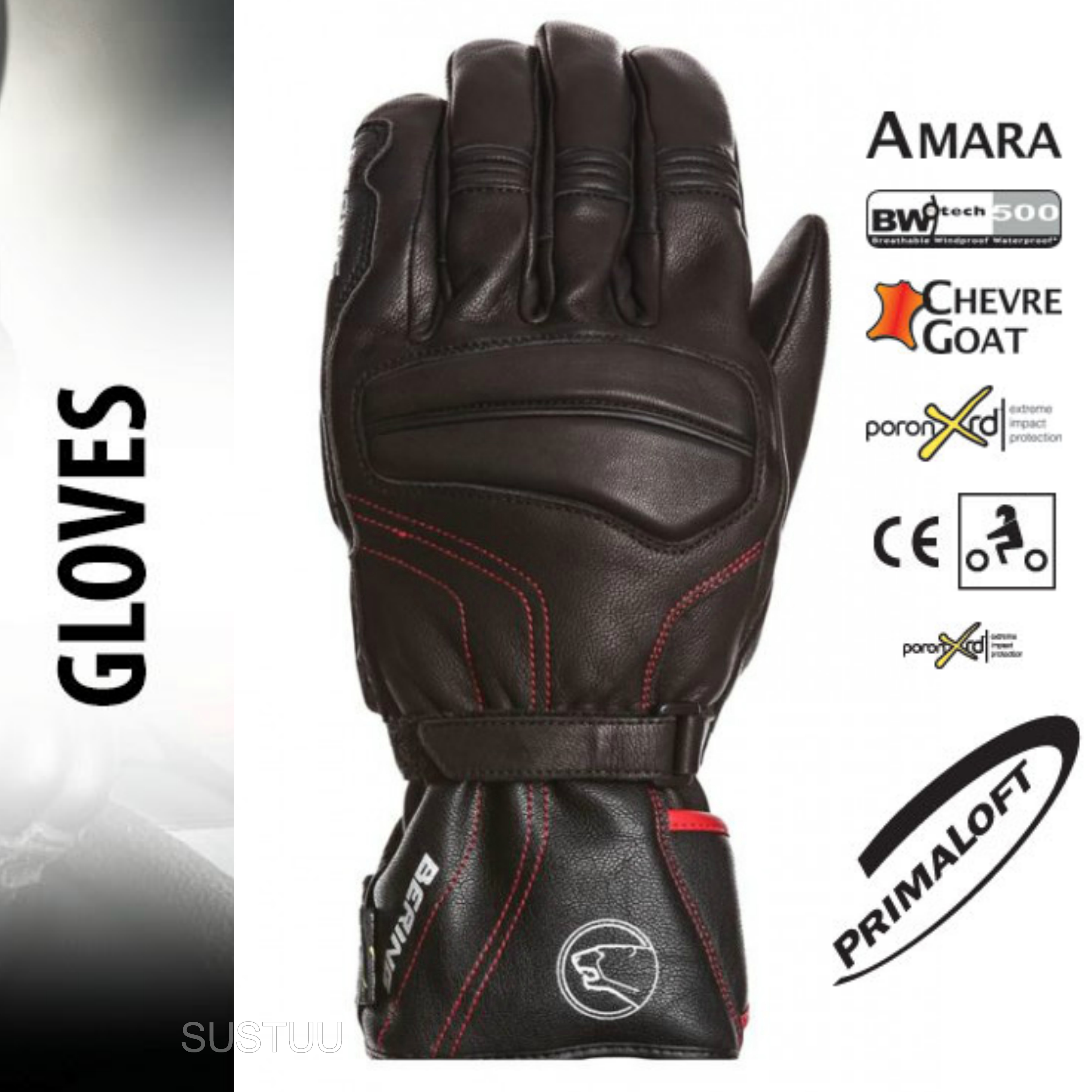 Bering Atlantis Motorcycle/Bike Winter Leather Gloves - Black|Waterproof|CE|For Men