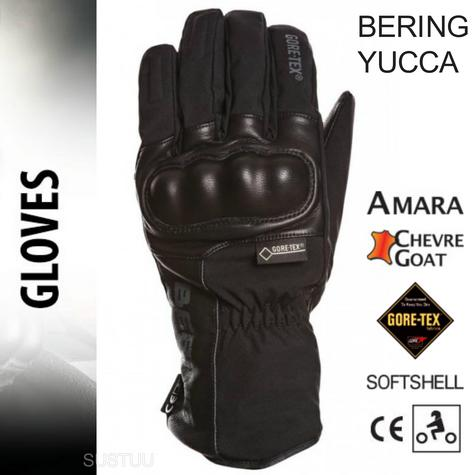 Bering Yucca Goretex Motorcycle/Bike Winter Leather Gloves-Black|Watreproof|CE|For Men Thumbnail 1