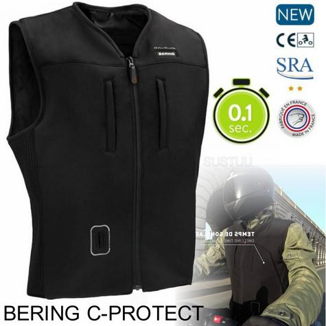 Bering C- Protect MotorBike Cable AirBag Jacket-Black|Unisex|CE Approved|Inflation 0.1 Sec Thumbnail 1