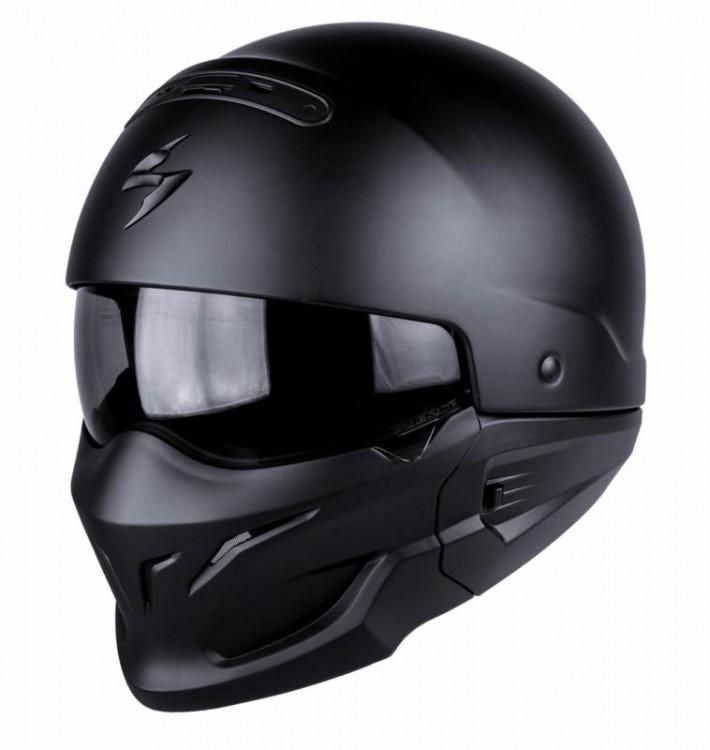 Scorpion Exo Combat Black Open face Urban Modular Streetfighter Helmet - Large