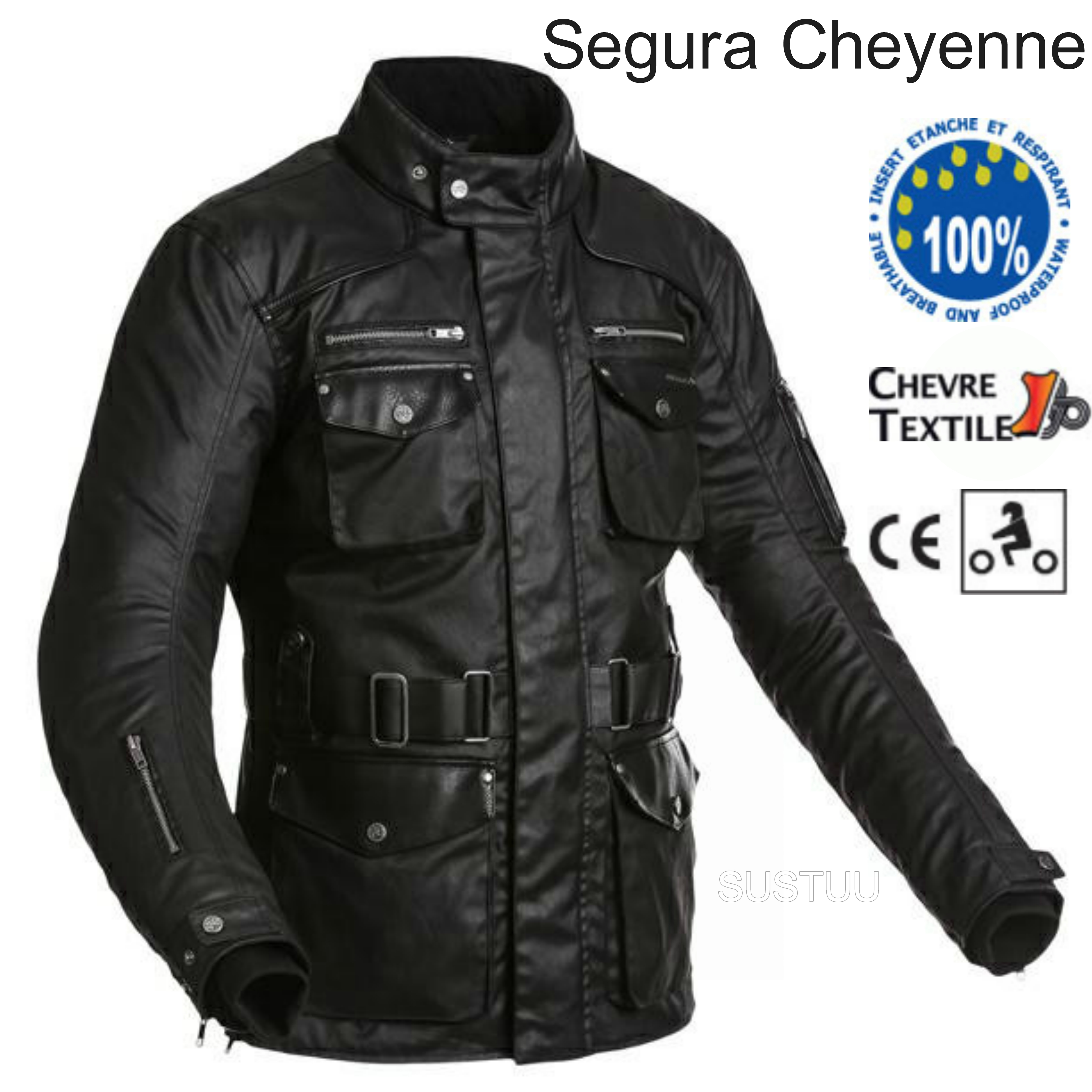Segura Cheyenne Textile Men Jacket|Waterproof|Breathable|Mesh|CE Approved|Black