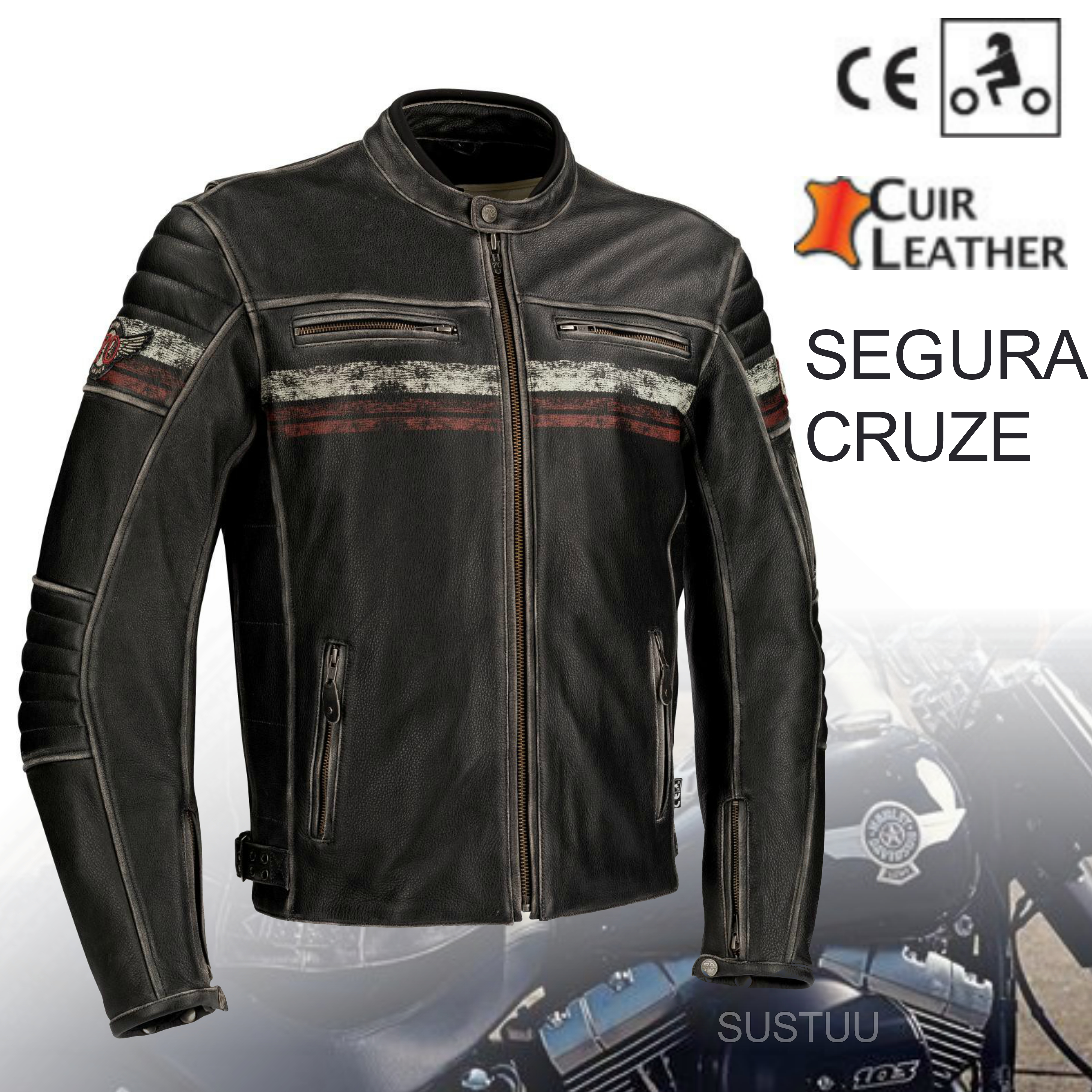 New Segura Cruze Motorcycle Men Leather Jacket|Summer|Vintage Style|CE Approved|Black