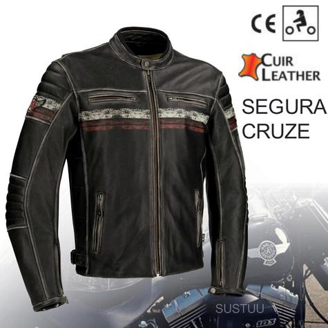 New Segura Cruze Motorcycle Men Leather Jacket|Summer|Vintage Style|CE Approved|Black Thumbnail 1