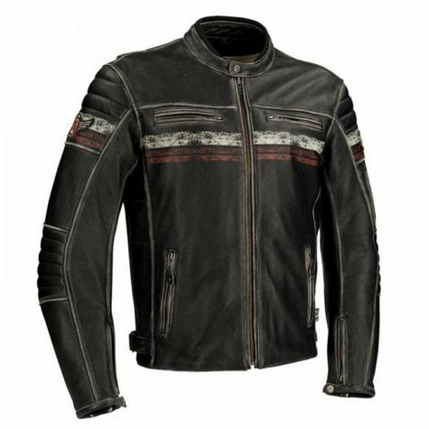 New Segura Cruze Motorcycle Men Leather Jacket|Summer|Vintage Style|CE Approved|Black Thumbnail 2