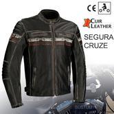New Segura Cruze Motorcycle Men Leather Jacket|Summer|Vintage Style|CE Approved|Black