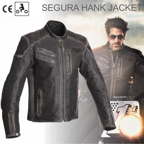 New Segura Hank Motorcycle Men Jacket|Vintage Style|Genuine Worn Leather|CE Approved|Black Thumbnail 1