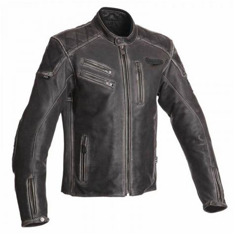 New Segura Hank Motorcycle Men Jacket|Vintage Style|Genuine Worn Leather|CE Approved|Black Thumbnail 2