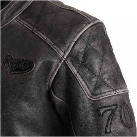 New Segura Hank Motorcycle Men Jacket|Vintage Style|Genuine Worn Leather|CE Approved|Black Thumbnail 4