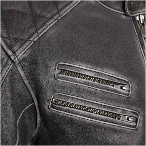 New Segura Hank Motorcycle Men Jacket|Vintage Style|Genuine Worn Leather|CE Approved|Black Thumbnail 5