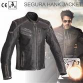 New Segura Hank Motorcycle Men Jacket|Vintage Style|Genuine Worn Leather|CE Approved|Black