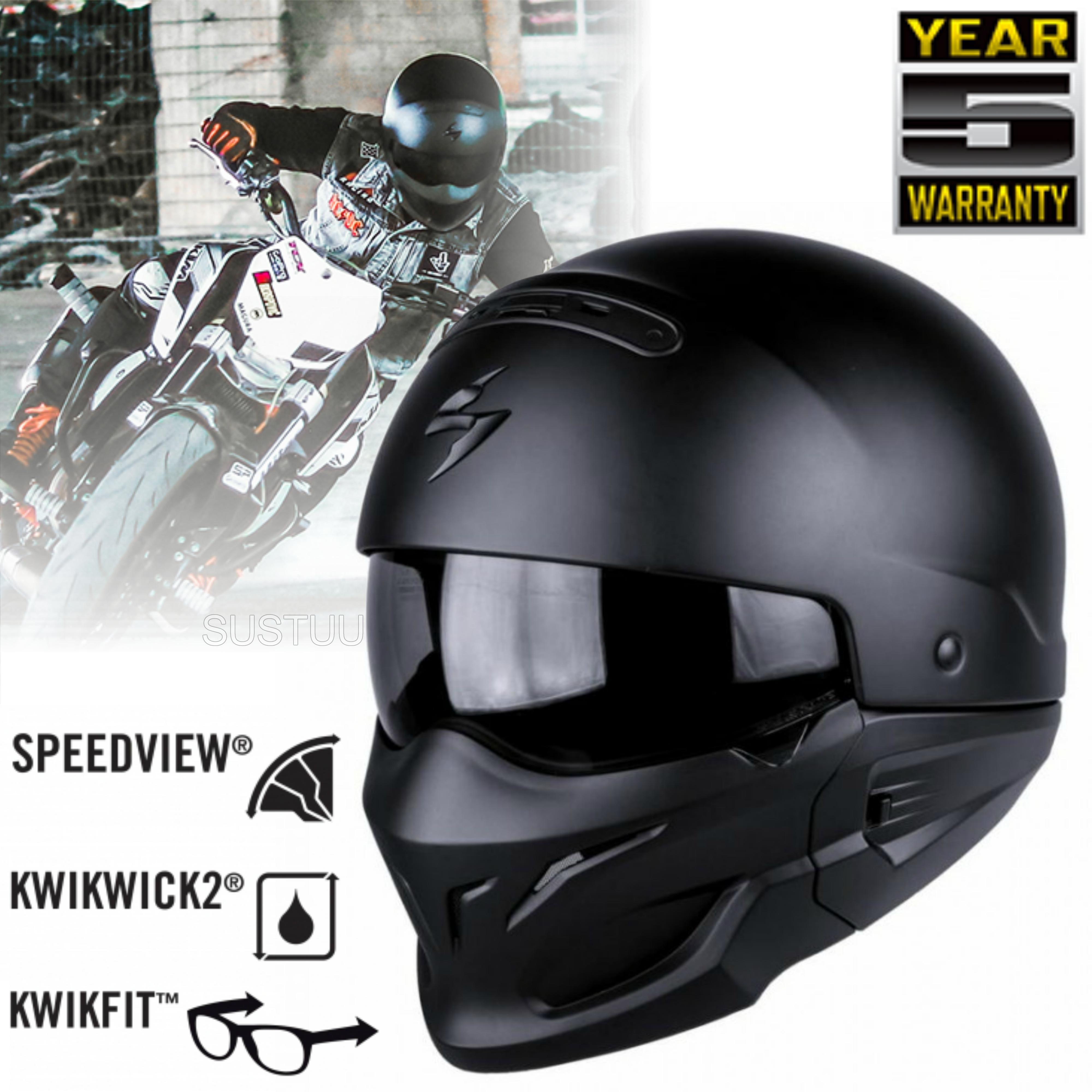 Scorpion Exo Combat Open Face Motorcycle Unisex Helmet|Crossover|Jet Style|Matt Black