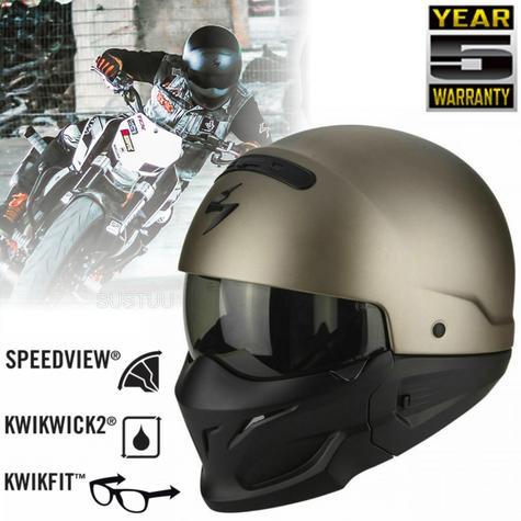 Scorpion Exo Combat Open Face Unisex Sport Helmet|Crossover+Jet Style|Titanium Thumbnail 1