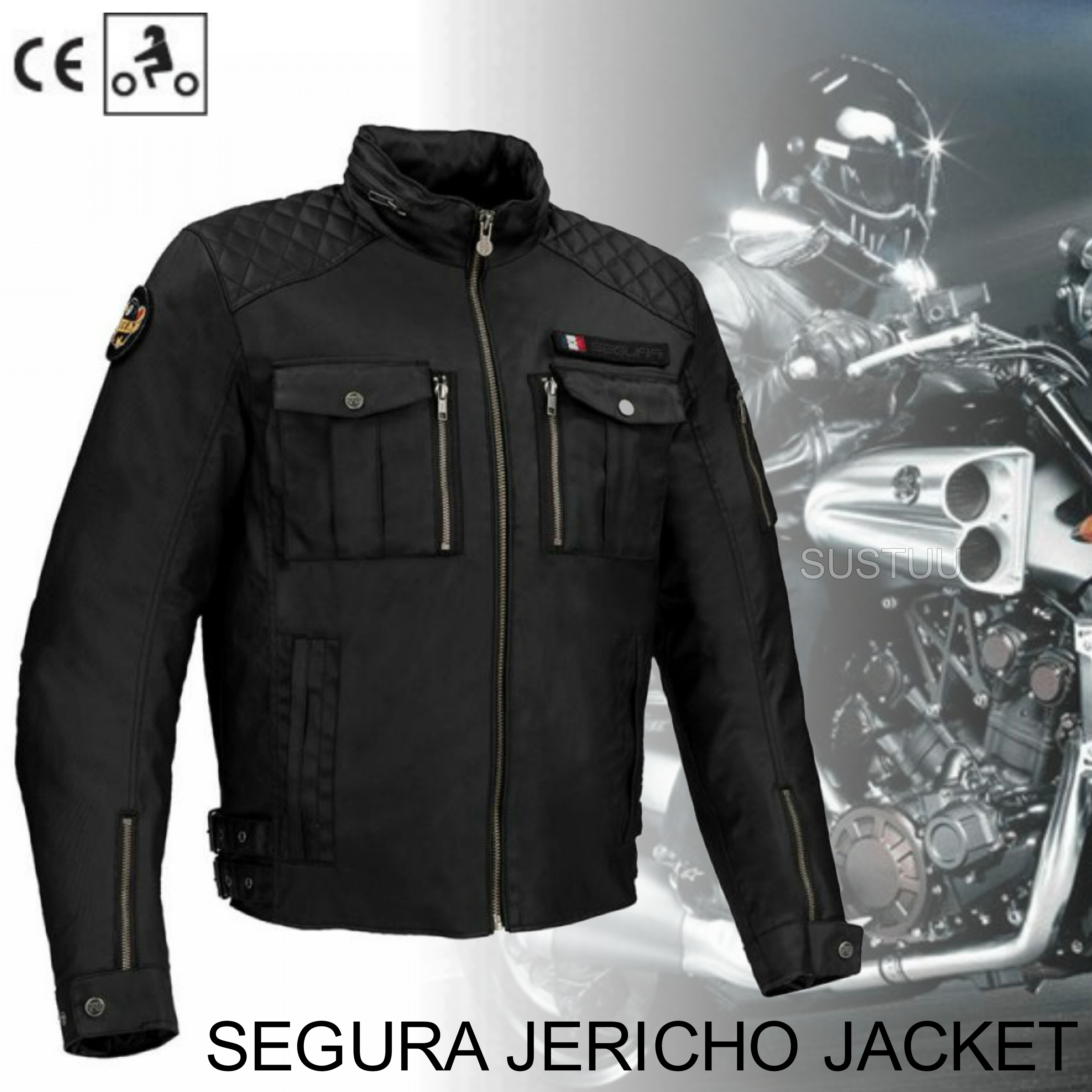 New Segura Jericho Motorcycle/Bike Men Textile Jacket|CE Approved|Waterproof & Breathable|Black