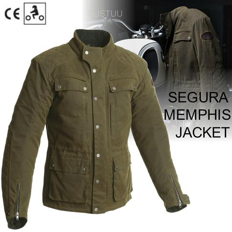Segura Memphis Motorcycle/Bike Men Textile Jacket|CE Approved & Breathable|Waterproof|Kaki Thumbnail 1