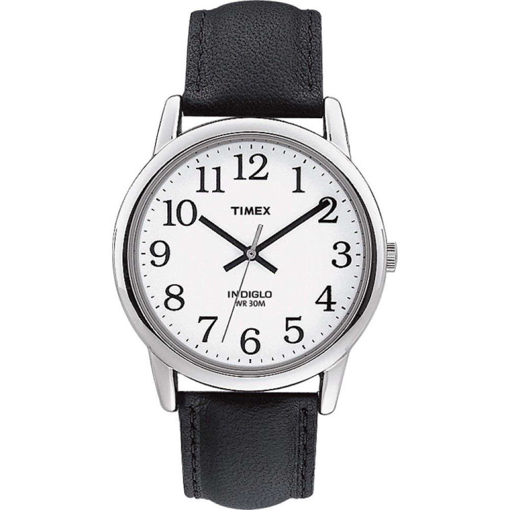 Timex Mens T20501 Easy Reader Watch?Analogue Display?Black Leather Strap?White?