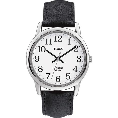Timex Mens T20501 Easy Reader Watch?Analogue Display?Black Leather Strap?White? Thumbnail 1